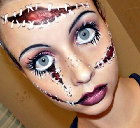 esta chica parece una franquestein femenina fantsticos maquillajes para halloween 1